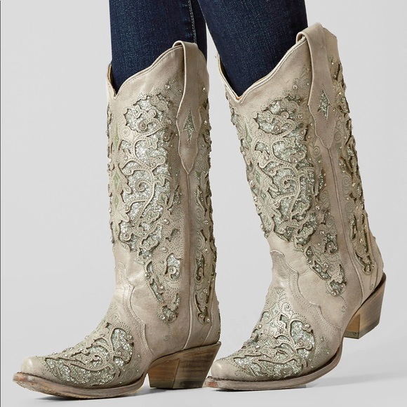 000416b3aacd Corral Shoes | Ladies Martina White Glitter Western Boots | Poshmark